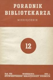 Okładka Poradnik Bibliotekarza 1956, nr 12