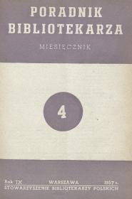 Okładka Poradnik Bibliotekarza 1957, nr 4
