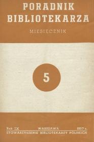 Okładka Poradnik Bibliotekarza 1957, nr 5