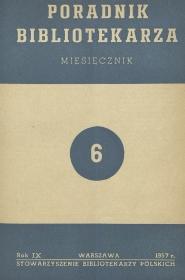 Okładka Poradnik Bibliotekarza 1957, nr 6
