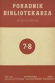 Okładka Poradnik Bibliotekarza 1957, nr 7-8