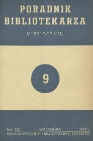 Okładka Poradnik Bibliotekarza 1957, nr 9