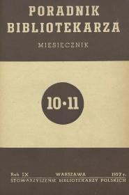 Okładka Poradnik Bibliotekarza 1957, nr 10-11