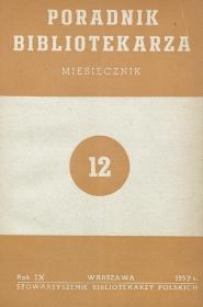 Okładka Poradnik Bibliotekarza 1957, nr 12
