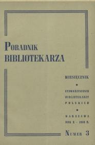 Okładka Poradnik Bibliotekarza 1958, nr 3