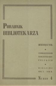 Okładka Poradnik Bibliotekarza 1958, nr 4
