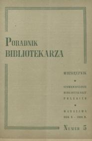 Okładka Poradnik Bibliotekarza 1958, nr 5
