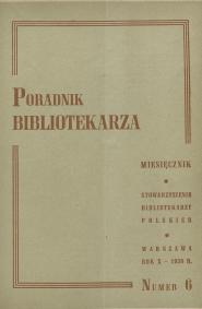 Okładka Poradnik Bibliotekarza 1958, nr 6