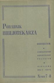 Okładka Poradnik Bibliotekarza 1958, nr 7-8