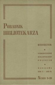 Okładka Poradnik Bibliotekarza 1958, nr 9-10