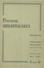 Okładka Poradnik Bibliotekarza 1958, nr 12