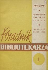 Okładka Poradnik Bibliotekarza 1959, nr 1