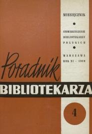 Okładka Poradnik Bibliotekarza 1959, nr 4