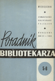 Okładka Poradnik Bibliotekarza 1959, nr 5-6