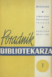 Okładka Poradnik Bibliotekarza 1959, nr 7
