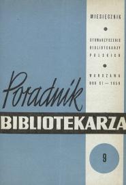 Okładka Poradnik Bibliotekarza 1959, nr 9
