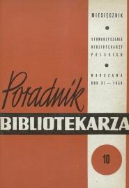 Okładka Poradnik Bibliotekarza 1959, nr 10