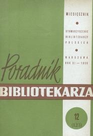 Okładka Poradnik Bibliotekarza 1959, nr 12