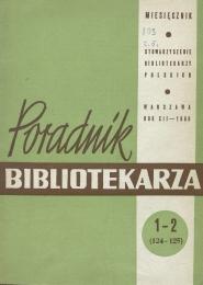 Okładka Poradnik Bibliotekarza 1960, nr 1-2