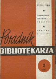 Okładka Poradnik Bibliotekarza 1960, nr 3