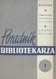 Okładka Poradnik Bibliotekarza 1960, nr 4