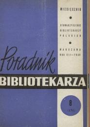 Okładka Poradnik Bibliotekarza 1960, nr 8