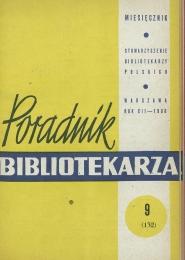 Okładka Poradnik Bibliotekarza 1960, nr 9