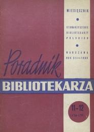 Okładka Poradnik Bibliotekarza 1960, nr 11-12
