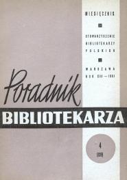 Okładka Poradnik Bibliotekarza 1961, nr 4