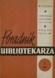 Okładka Poradnik Bibliotekarza 1961, nr 11