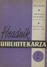 Okładka Poradnik Bibliotekarza 1961, nr 12