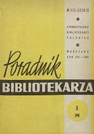 Okładka Poradnik Bibliotekarza 1961, nr 9