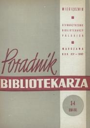 Okładka Poradnik Bibliotekarza 1962, nr 3-4