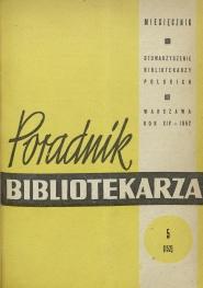 Okładka Poradnik Bibliotekarza 1962, nr 5
