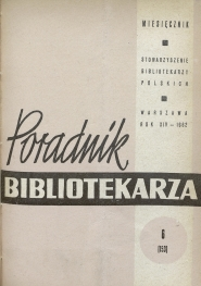 Okładka Poradnik Bibliotekarza 1962, nr 6