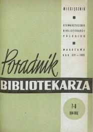 Poradnik Bibliotekarza 1962, nr 7-8