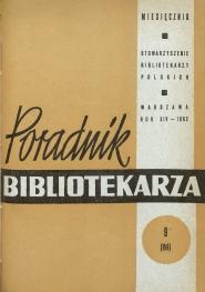 Okładka Poradnik Bibliotekarza 1962, nr 9
