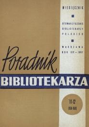 Okładka Poradnik Bibliotekarza 1962, nr 11-12
