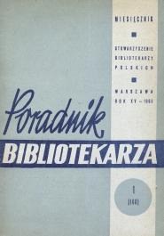 Okładka Poradnik Bibliotekarza 1963, nr 1