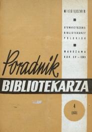 Okładka Poradnik Bibliotekarza 1963, nr 4