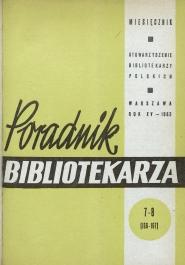 Okładka Poradnik Bibliotekarza 1963, nr 7-8