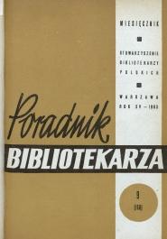 Okładka Poradnik Bibliotekarza 1963, nr 9