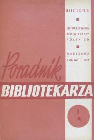 Okładka Poradnik Bibliotekarza 1964, nr 9