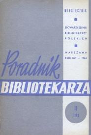 Okładka Poradnik Bibliotekarza 1964, nr 10
