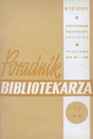 Okładka Poradnik Bibliotekarza 1964, nr 11-12