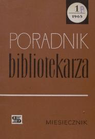 Okładka Poradnik Bibliotekarza 1965, nr 1