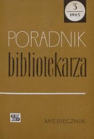 Okładka Poradnik Bibliotekarza 1965, nr 3