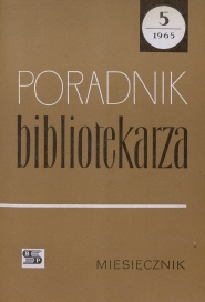 Okładka Poradnik Bibliotekarza 1965, nr 5