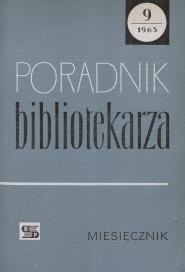Okładka Poradnik Bibliotekarza 1965, nr 9