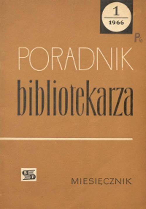 Okładka Poradnik Bibliotekarza 1966, nr 1